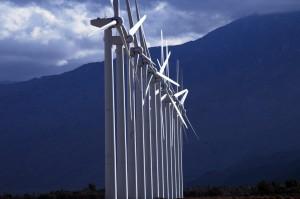 row-of-solar-windmills