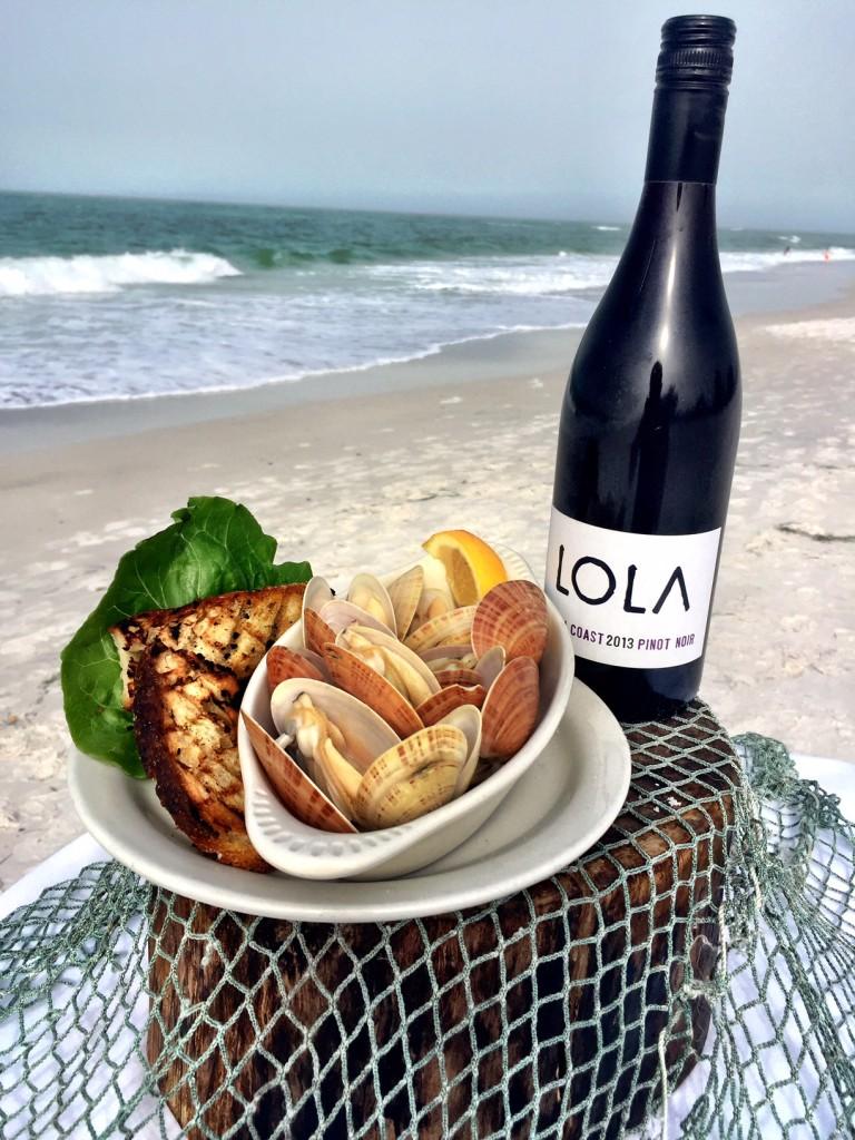 Sunray Venus Clams sautéed with Bob Wood's Chipotle sausage and Lola Wine